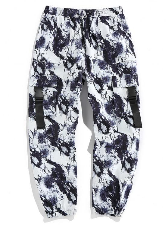 chic ZAFUL Tie Dye Print Release Buckle Cargo Pants - BLACK XL