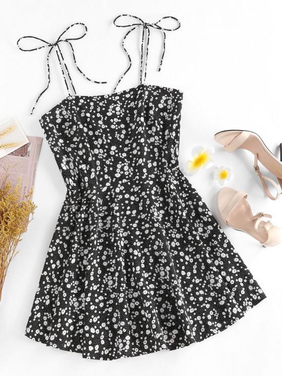 women ZAFUL Ditsy Print Tie Shoulder Sleeveless Dress - BLACK L