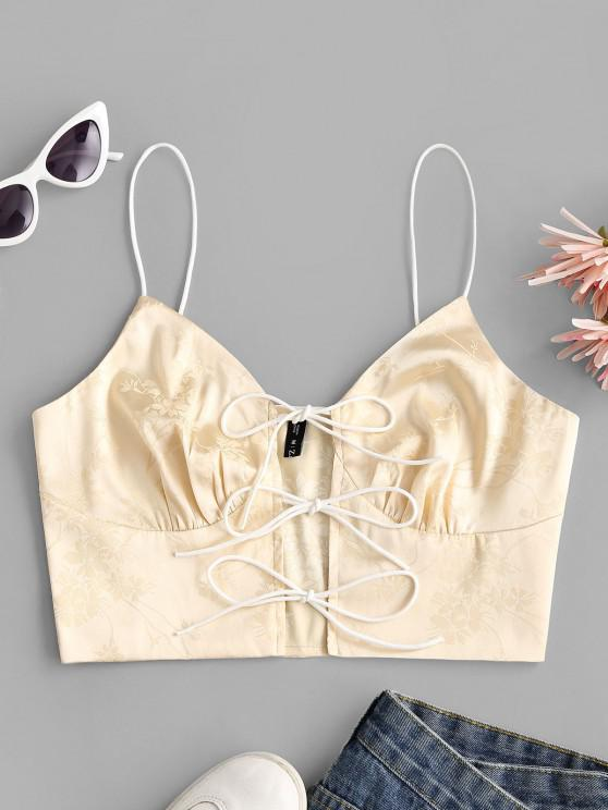 women Tie Front Jacquard Satin Cropped Cami Top - LIGHT YELLOW M