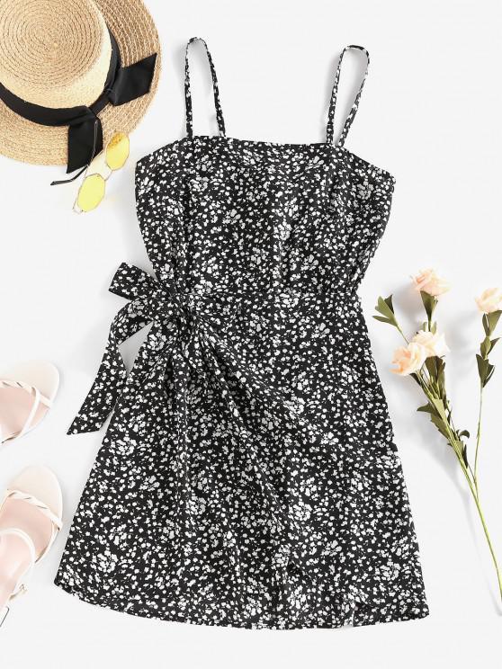 lady ZAFUL Ditsy Floral Knot Cami Overlap Dress - BLACK XL
