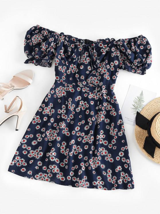 chic ZAFUL Daisy Floral Off Shoulder Frilled Dress - DEEP BLUE S
