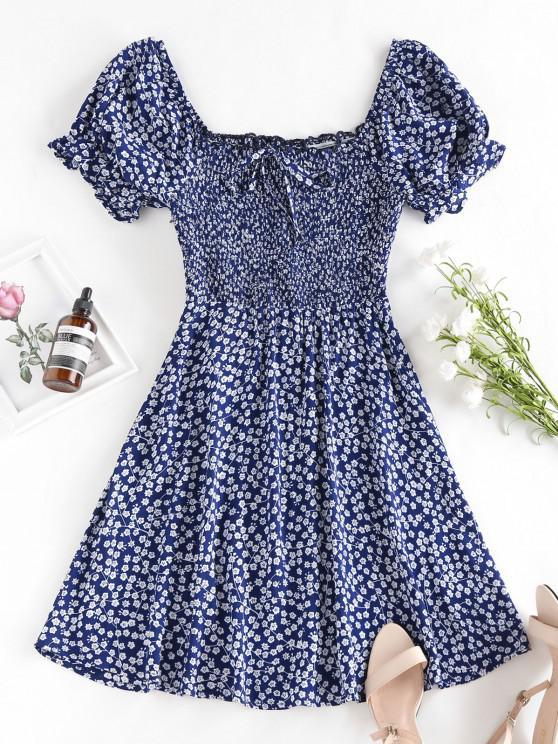 ZAFUL Ditsy Print Smocked Bowknot Ruffle Mini Dress - ازرق غامق S
