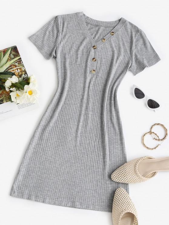 fancy Rib-knit Buttoned Slinky Bodycon Dress - LIGHT GRAY ONE SIZE