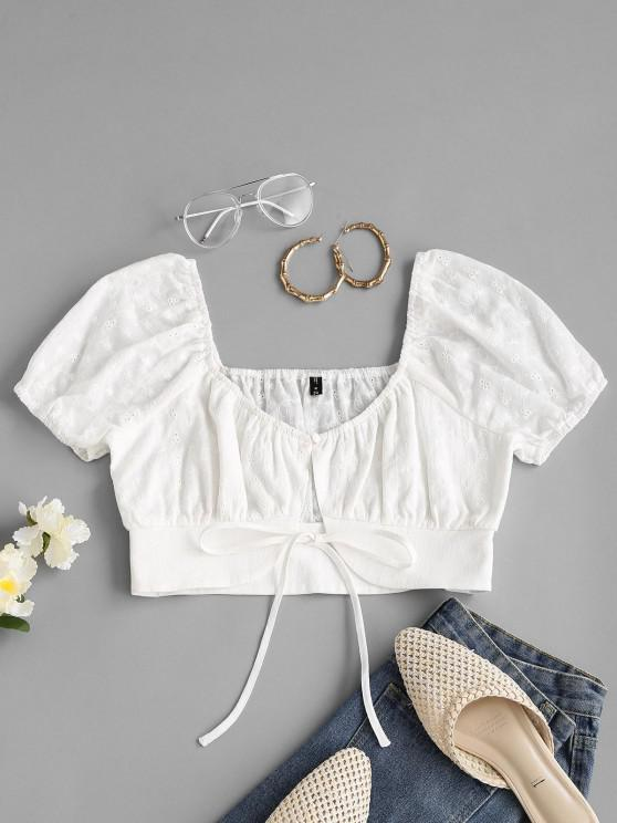 ladies Eyelet Tie Front Cropped Milkmaid Blouse - WHITE S