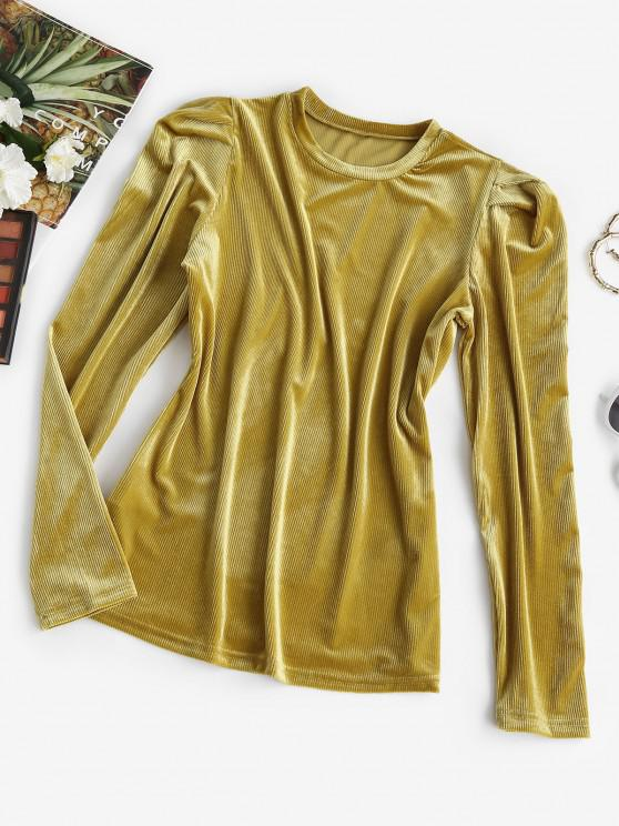 fancy Ribbed Velvet Puff Sleeve Top - DEEP YELLOW M