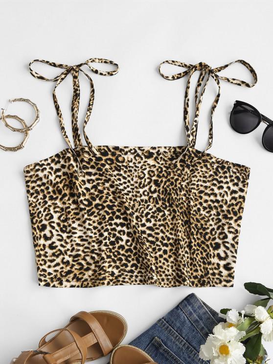 ZAFUL Plus Size Leopard Tie Shoulder Cami Top - متعدد L