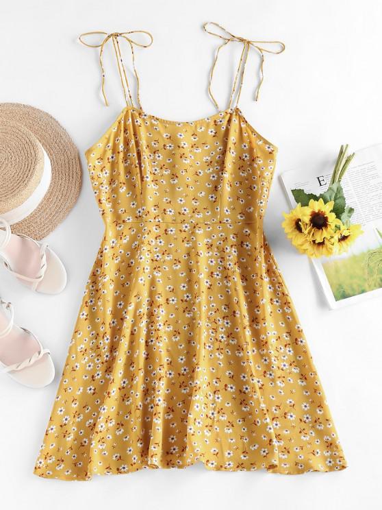 ladies ZAFUL Ditsy Print Tie Shoulder Open Back Dress - DEEP YELLOW L