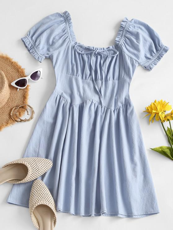 Smocked Back Puff Sleeve Frilled-trim Nap Dress - أزرق فاتح M
