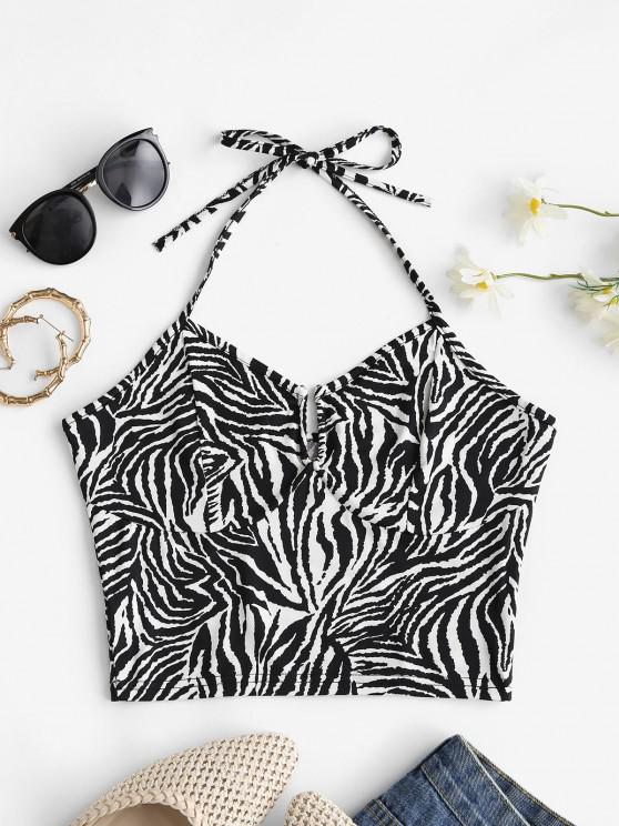 trendy Halter Zebra Print U-bar Crop Top - BLACK S