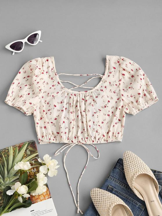 Ditsy Print Lace-up Puff Sleeve Crop Blouse - أبيض L