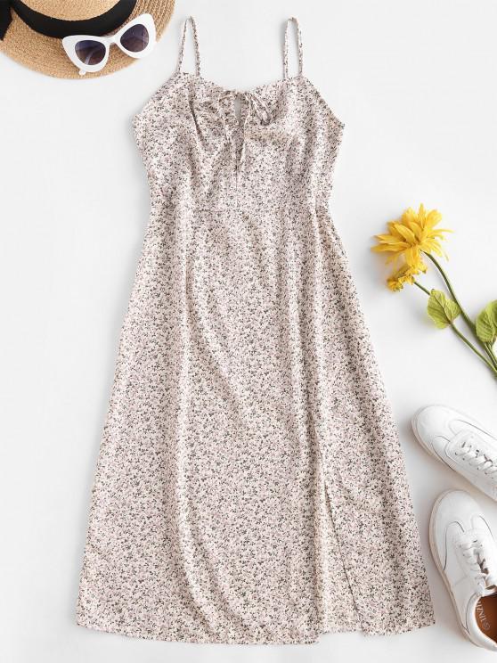sale Ditsy Floral Tie Slit Cami Dress - WHITE M