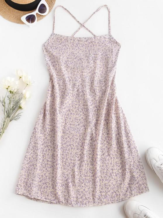 outfit Ditsy Floral Criss Cross Backless Cami Dress - WHITE M