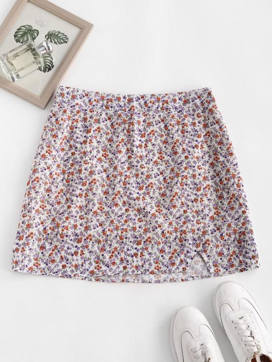 new Ditsy Floral Slit A Line Skirt - LIGHT PURPLE S