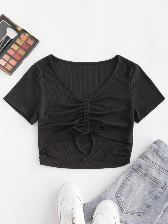 women ZAFUL Ribbed Cinched Cutout V Neck T Shirt - BLACK S