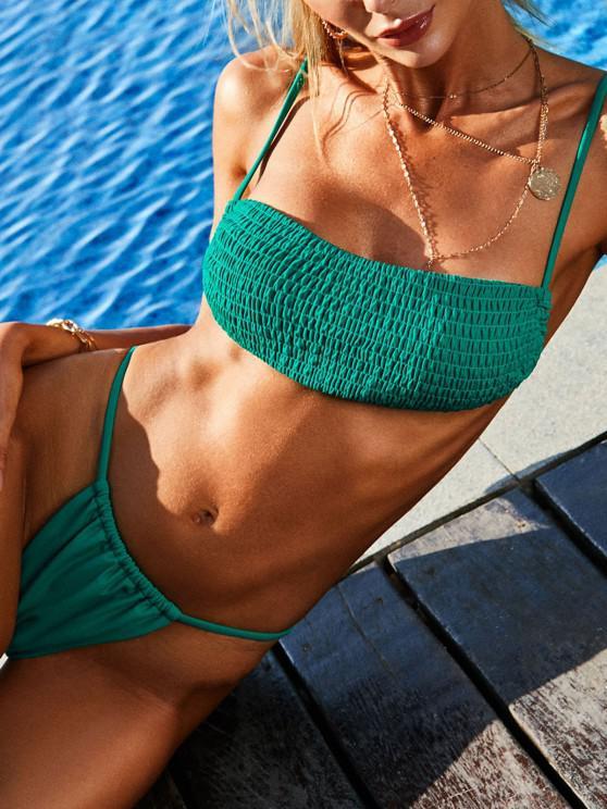 chic ZAFUL Smocked Tie Back Tanga Thong Bikini Swimwear - DEEP GREEN S