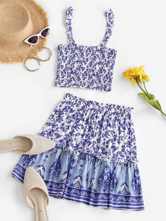 Bohemian Flower Ruffle Smocked Tiered Skirt Set - أزرق S