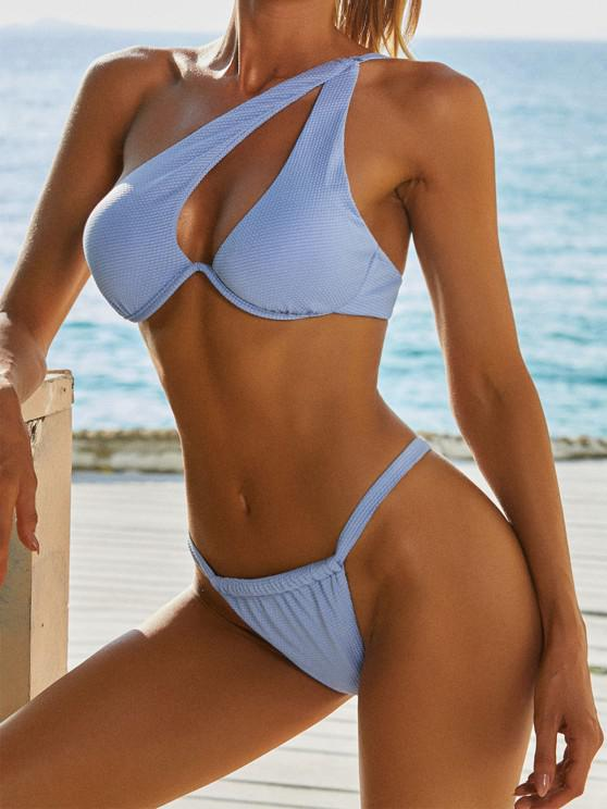 shops ZAFUL One Shoulder Cutout Monowire Tanga Bikini Swimwear - LIGHT BLUE S
