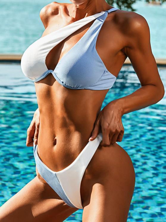 fashion ZAFUL One Shoulder Ribbed Two Tone Cutout Monowire Bikini Swimwear - LIGHT BLUE S