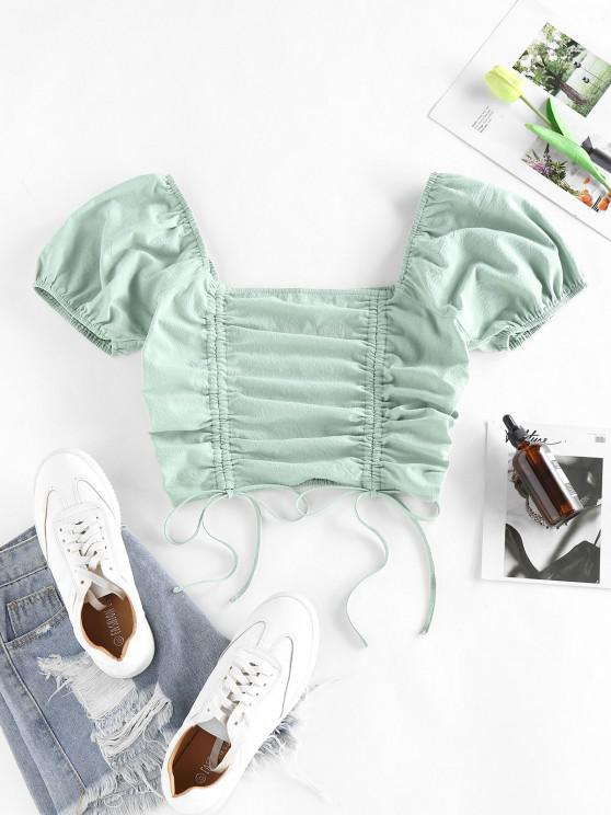 fashion ZAFUL Cinched Smocked Puff Sleeve Crop T Shirt - LIGHT GREEN S