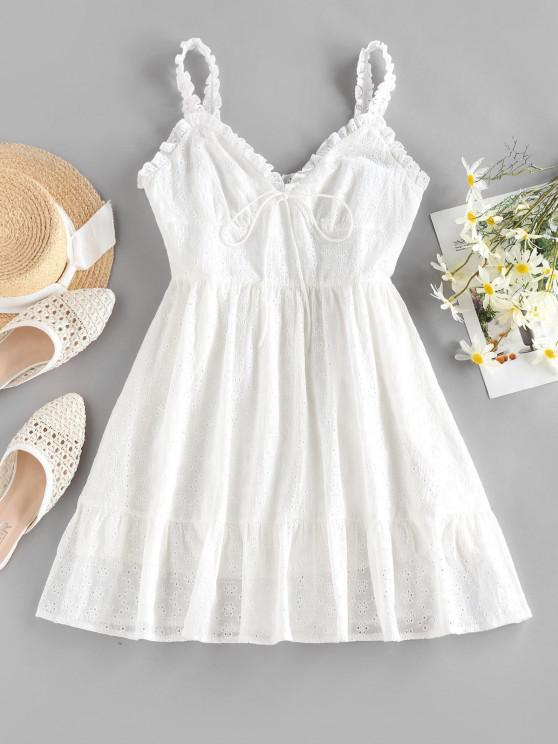 ZAFUL Mini Vestido Broderie Anglaise - Blanco S