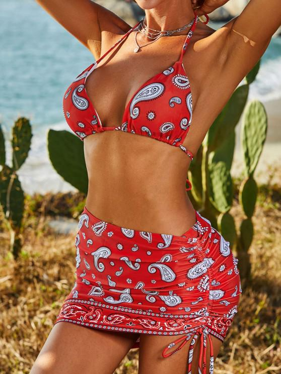 womens ZAFUL Paisley Cinched Tie Three Piece Bikini Swimwear - RED L
