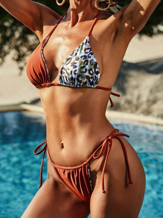 ZAFUL Reversible Multiway Leopard Bralette String Bikini Swimwear - قهوة L