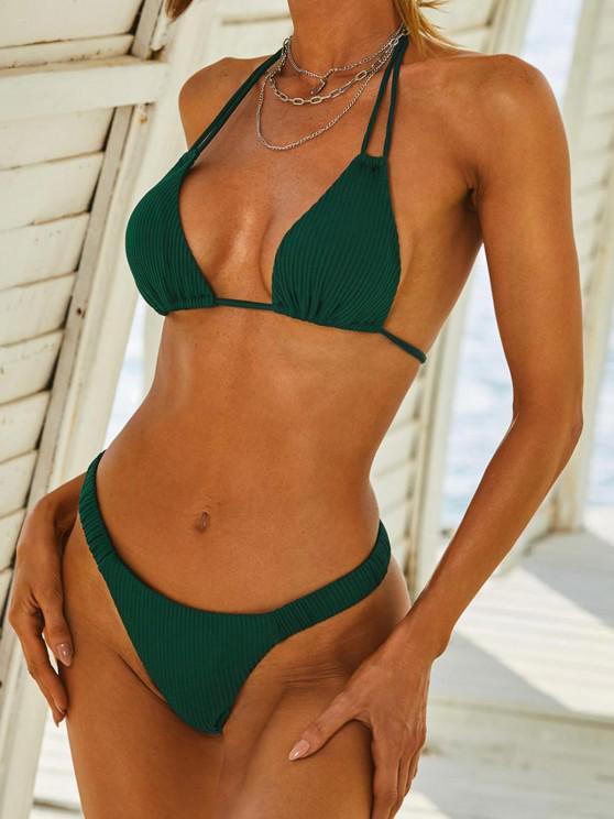 ZAFUL Ribbed Multi Way Tanga Bikini Swimwear - ديب غرين L