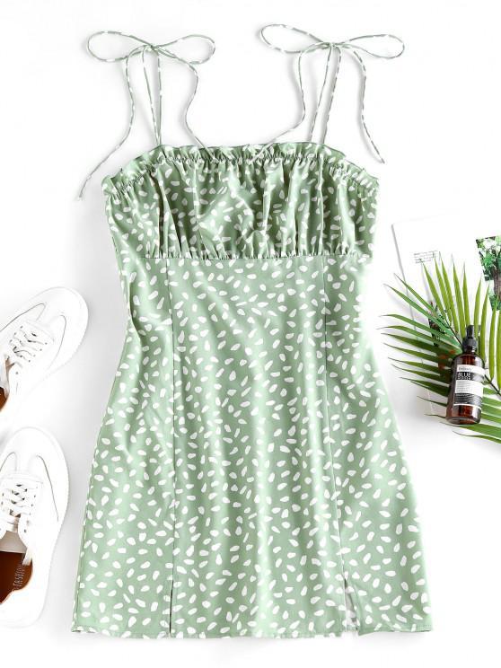 women's ZAFUL Speckled M Slit Ruffle Tie Shoulder Dress - LIGHT GREEN L
