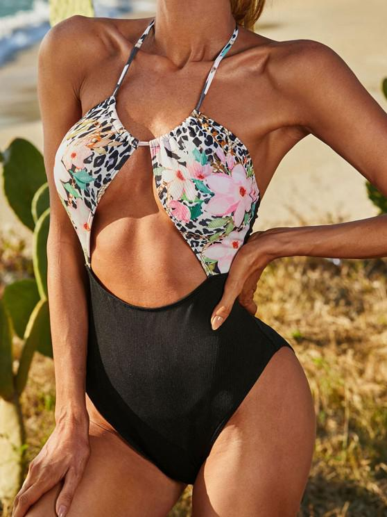 ZAFUL Ribbed Floral Mix Leopard Cutout One-piece Swimsuit - أسود S