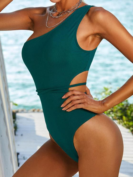 ZAFUL One Shoulder Ribbed Belted Monokini Swimsuit - ديب غرين S