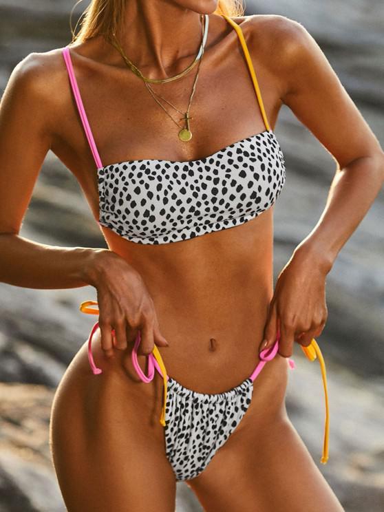 ZAFUL Dalmatian Dots Ribbed Tanga String Bikini Swimwear - أبيض L