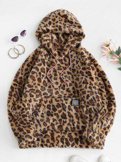 Leopard Fluffy Label Front Pocket Oversized Hoodie - Deep Yellow S