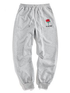 ZAFUL Rose Graphic Jogger Pencil Pants - Light Gray M