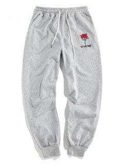 ZAFUL Rose Graphic Jogger Pencil Pants - Light Gray L
