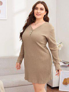 Plus Size Rib-knit Basic Night Dress - Light Coffee 5xl