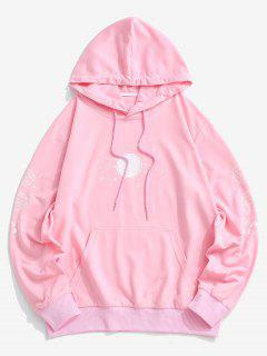 Planet Print Kangaroo Pocket Hoodie - Light Pink M