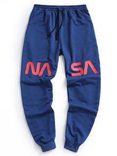 Pantalones Letra Contraste Estampado Letras - Azul Profundo L