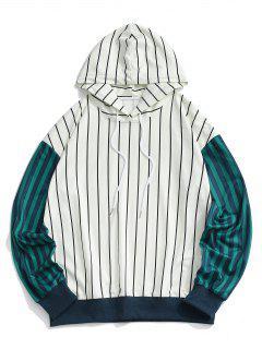 Two Tone Striped Drop Shoulder Hoodie - White 2xl
