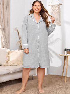 Robe De Nuit Avec Passepoil Couleur Chinée Grande-Taille - Gris Clair 2xl