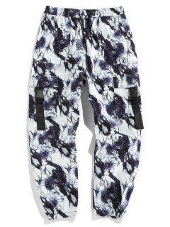 ZAFUL Tie Dye Print Release Buckle Cargo Pants - Black L