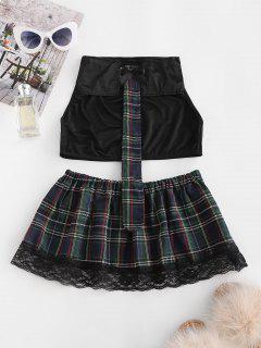 Lace Trim Plaid Schoolgirl Lingerie Costume - Black L