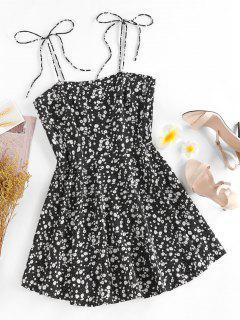 ZAFUL Ditsy Print Tie Shoulder Sleeveless Dress - Black S