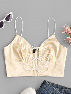 Tie Front Jacquard Satin Cropped Cami Top - Light Yellow M