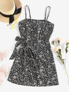 ZAFUL Ditsy Floral Knot Cami Overlap Dress - Black M
