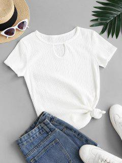 Rib-knit Keyhole Cotton Tee - White