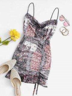 Floral Print Mesh Cinched Cowl Front Mermaid Dress - Black M