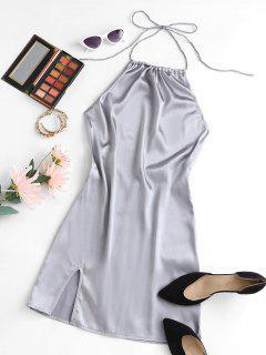 Halter Silky Satin Open Back Slinky Bodycon Dress - Light Gray L