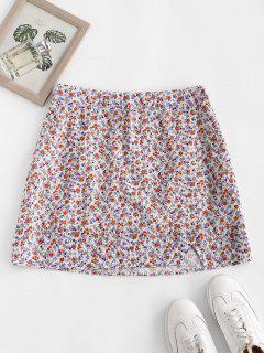 Ditsy Floral Slit A Line Skirt - Light Purple M
