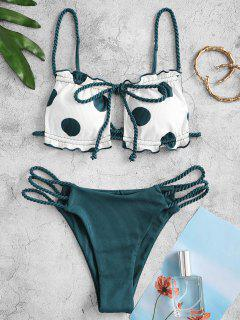 ZAFUL Polka Dot Ribbed Ruffle Braided Strap Ladder Cut Bikini Swimwear - Deep Green S