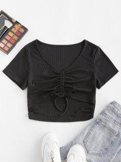 ZAFUL Ribbed Cinched Cutout V Neck T Shirt - Black M